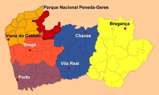 mapa porto geres Minho – Braga e Viana do Castelo – Cidadania Portuguesa mapa porto geres